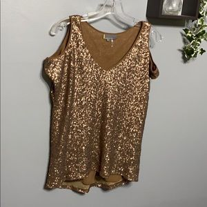 Jeans by Buffalo Bronze Sequin Cold Shoulder Top S